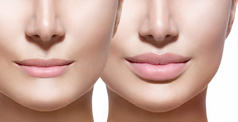 Two Woman's Faces, focused on lips